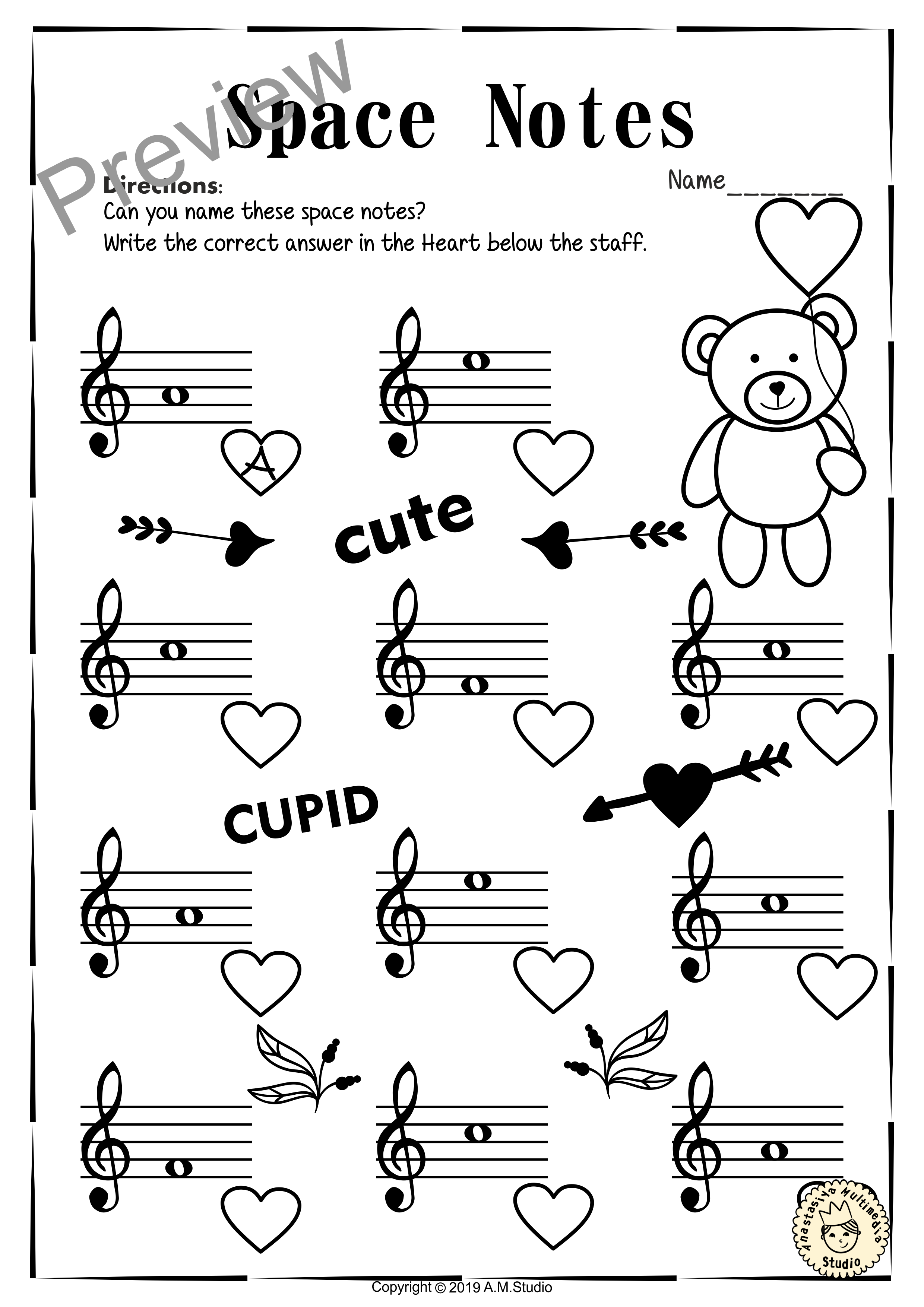 Valentine S Day Treble Clef Note Reading Worksheets