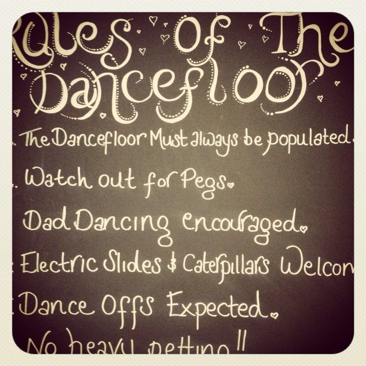 Rules Of The Dance Floor Chalk Board