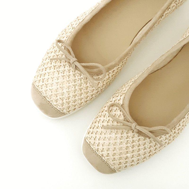 8b5f67e7d47b6 BALLERINE Femme Compensée marque REQINS Nomade naturel. Chaussures  plateforme en toile et cuir. Ballerines