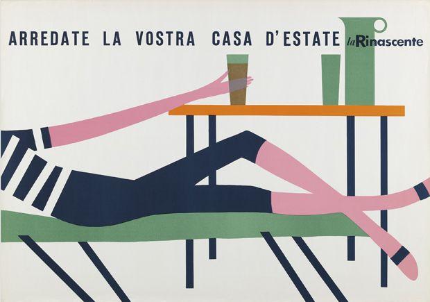 Manifesto di Lora Lamm, Estate e mare, La Rinascente Milano 1958. Collezione: Museum für Gestaltung Zurigo, MfGZ.