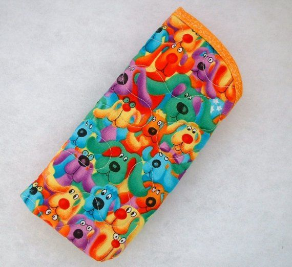 Quilted Eyeglass/sunglass case Rainbow Dogs by doodlebugquilts ... : quilted eyeglass case pattern - Adamdwight.com