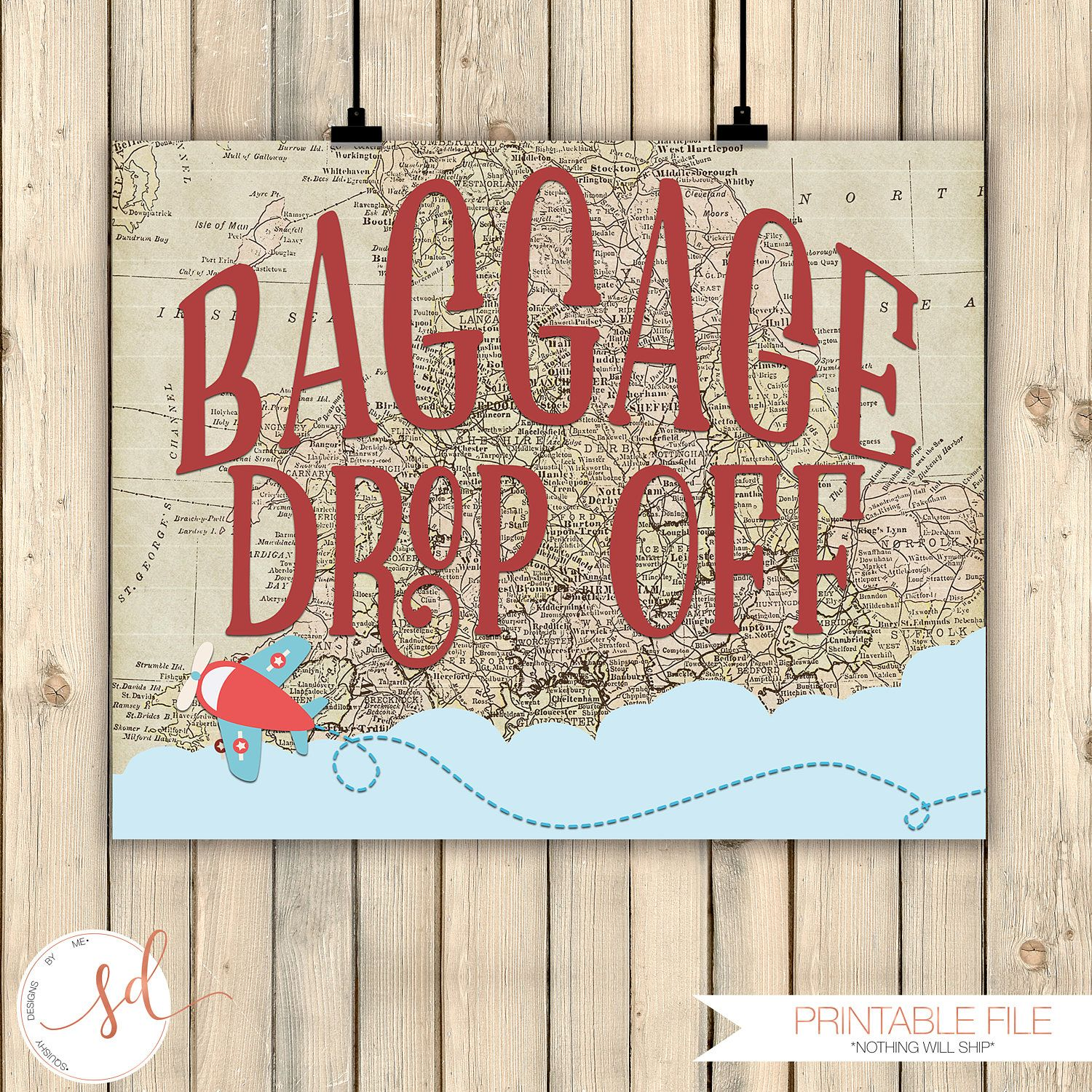Vintage Travel Party Sign, Baggage Drop Off, Airplanes