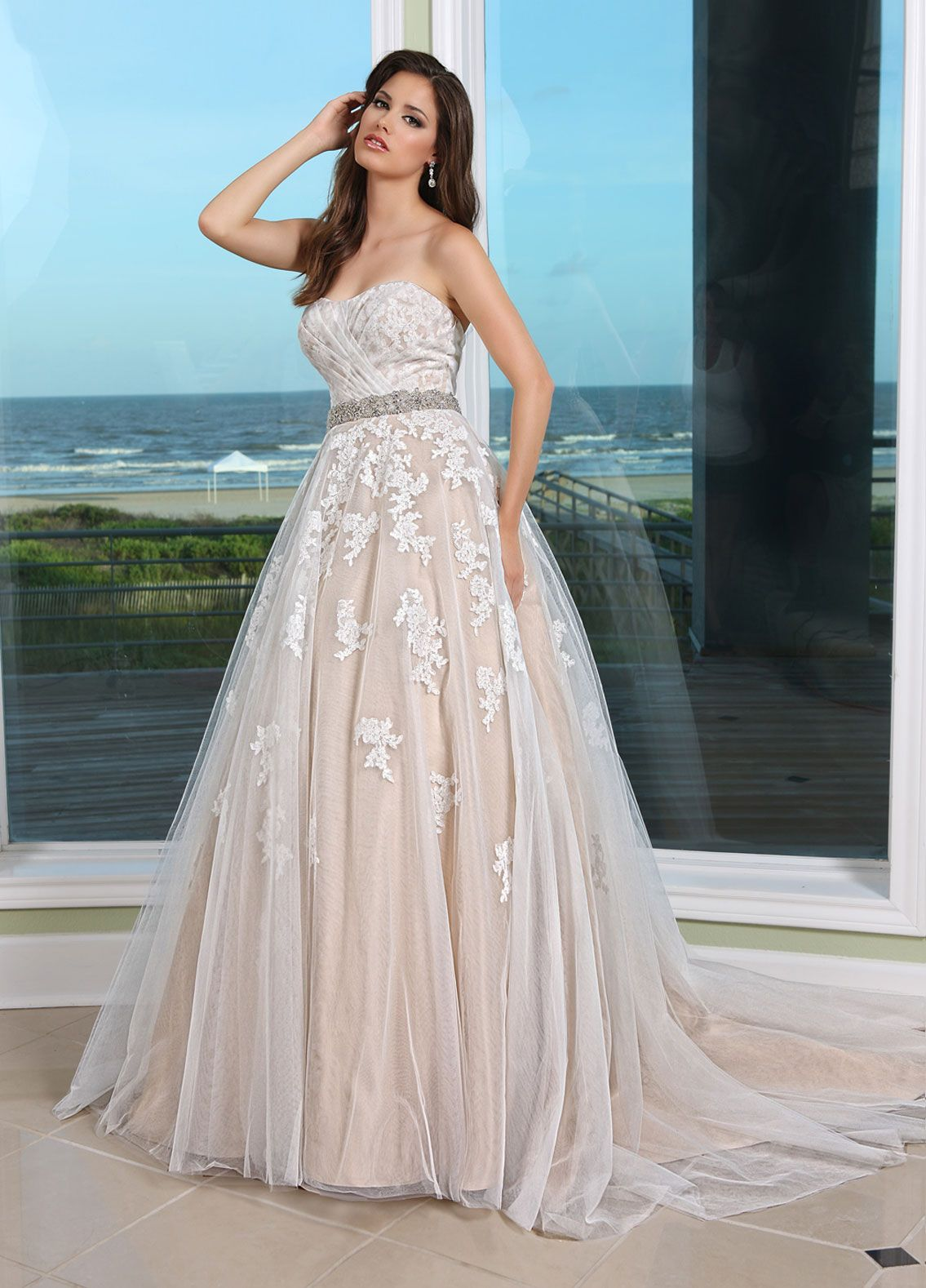 champaign wedding dress Tulle with Lace overlay gown with elegant rhinestone trim at waist Available in Ivory Champagne