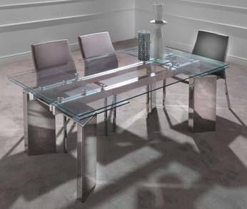 Table de salle manger design en verre oriana avec - Table de salle a manger design avec rallonge ...