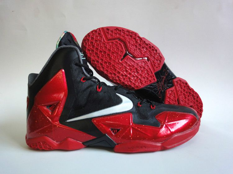 Hot Online Nike Lebron 11 Cheap sale Miami Heat Black Red