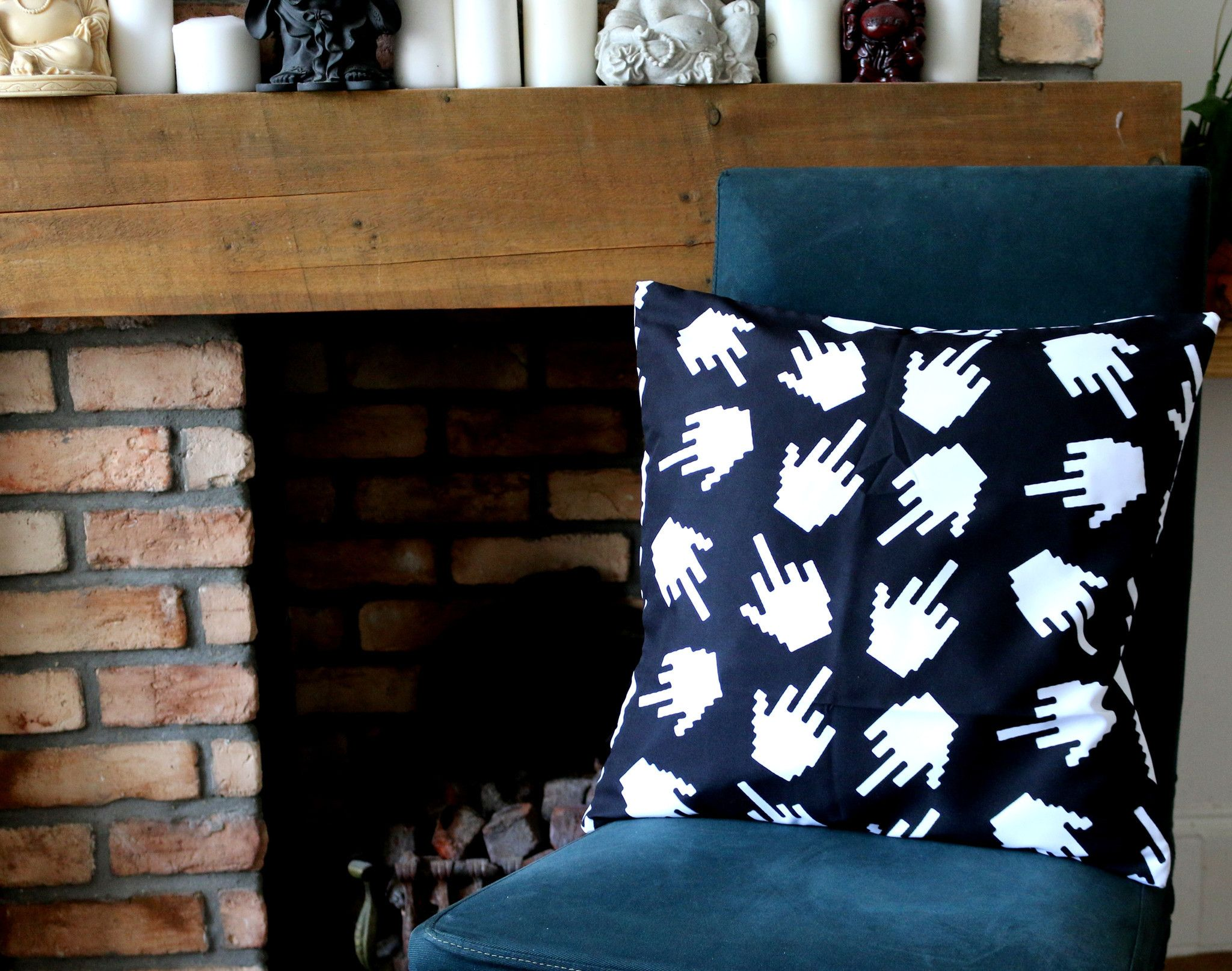 fuck middle finger black and white print linen cushion cover sofa