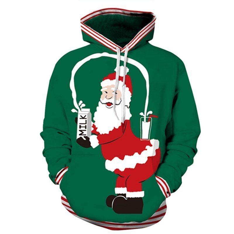 3D Prints XMAS CHRISTMAS Hoodies Santa Theme Popular TOPS Women Men/'s Sweatshirt