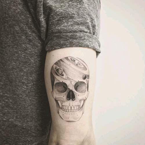 Erkek Arka Kol Kuru Kafa Dovmesi Man Arm Back Skull Tattoo Tatuagens De Pulso Para Homens Jovens Tatuados Tatuagens Na Cabeca