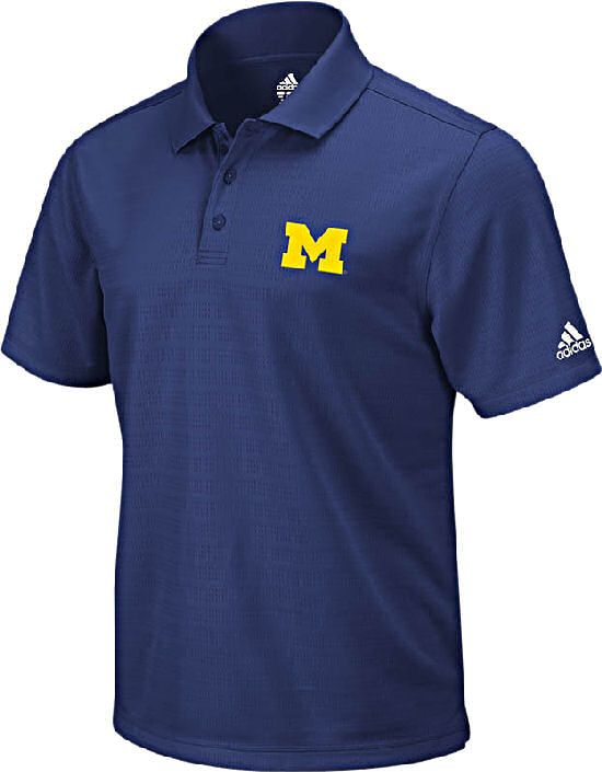 Michigan Wolverines Adidas Arch Logo Blue Climalite Polo Shirt