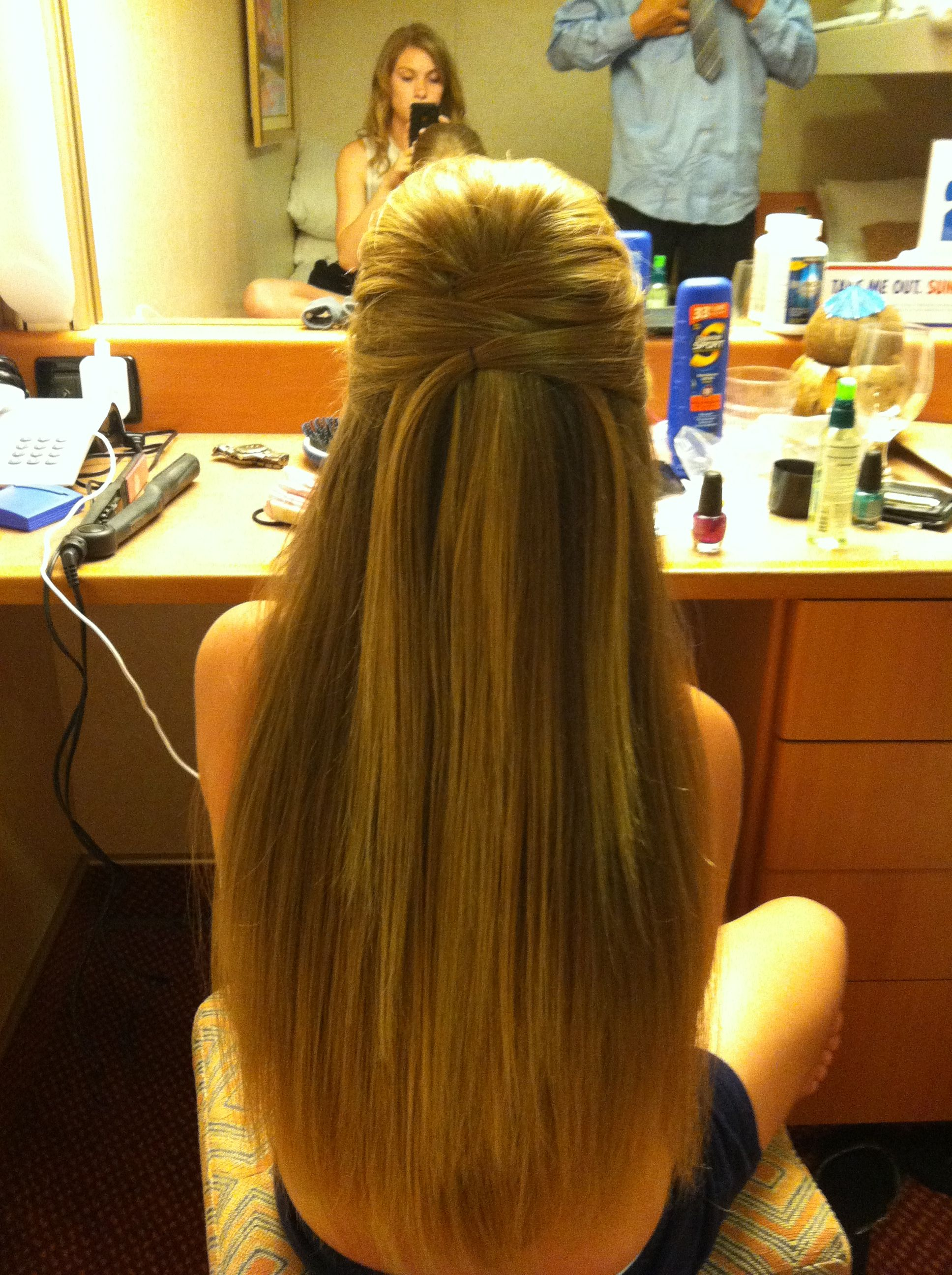 Formal Hair Straight With A Gorgeous Half Up Do