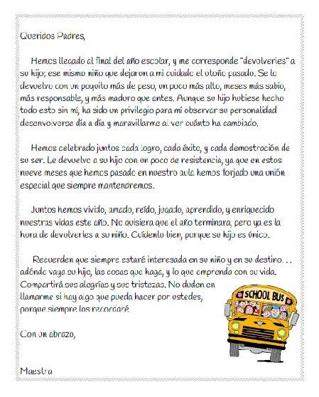 Carta a los padres para el fin del a o escolar en for Carta de despedida para una maestra de jardin
