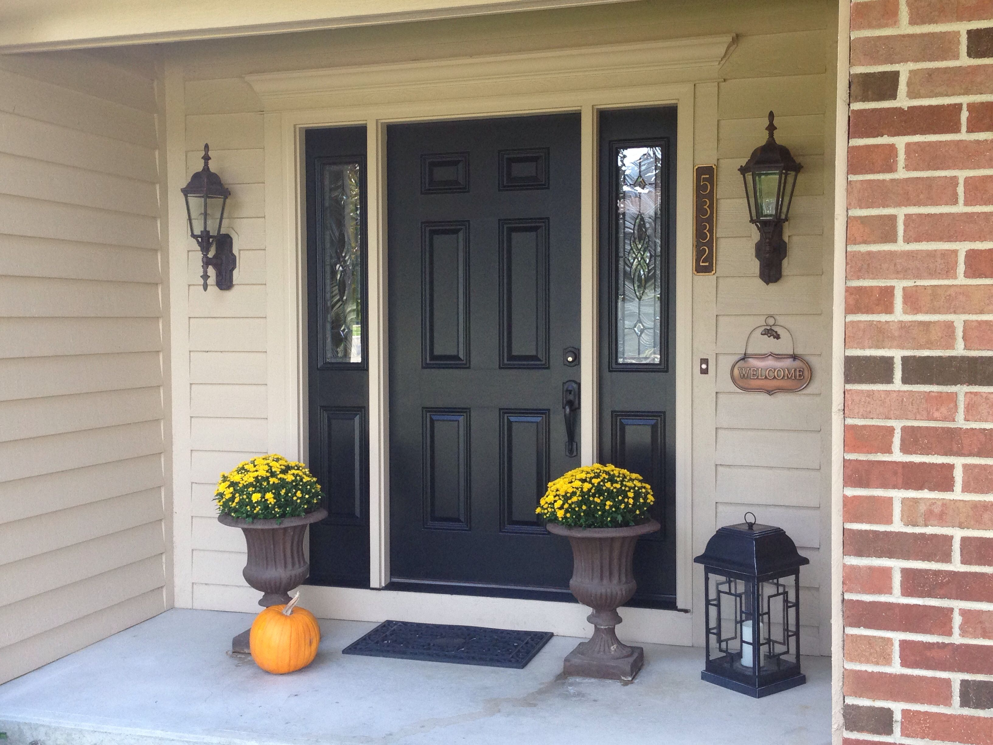 my front door painted in sherwin williams tricorn black the siding is sherwin williams nomadic. Black Bedroom Furniture Sets. Home Design Ideas