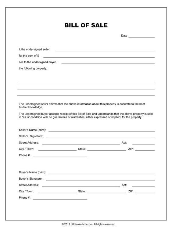 Printable Sample Equipment Bill Of Sale Template Form - printable bill of lading short form