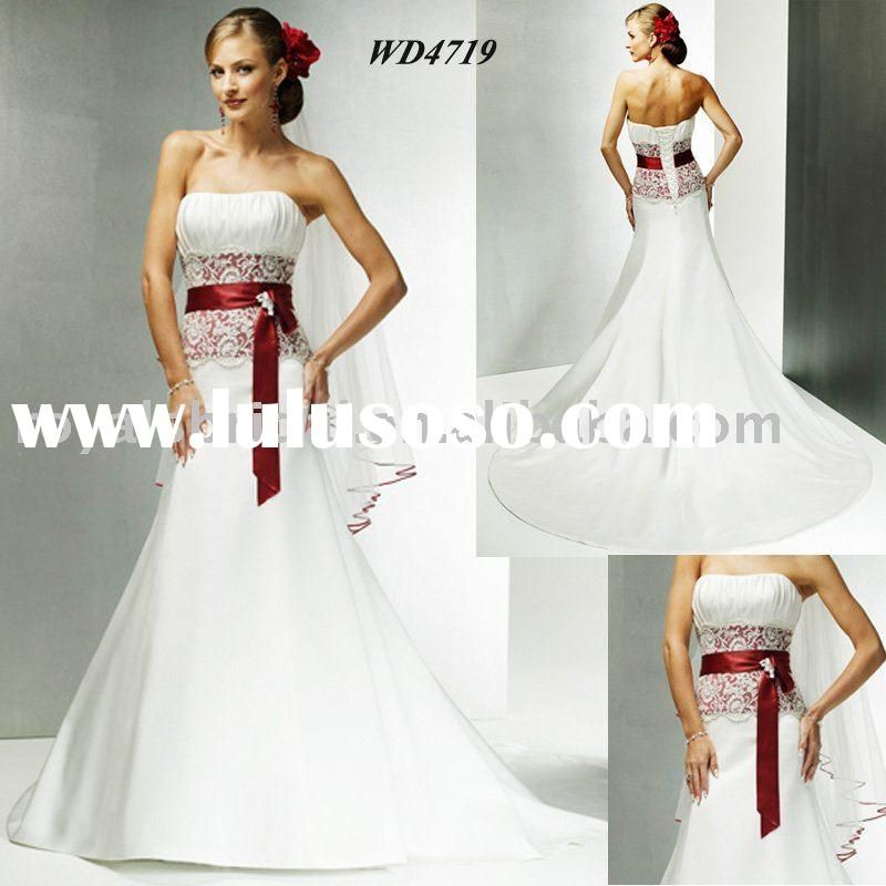 White Por Elegant Red Belt Bridal Wedding Dress