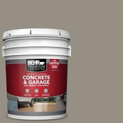 Behr Premium 5 Gal N320 5 Gray Squirrel Self Priming 1 Part Epoxy Satin Interior Exterior Concrete And Garage Floor Paint 90005 Garage Floor Paint Painted Floors Interior Exterior