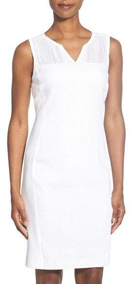 Elie Tahari 'Anya' Mesh Yoke Sheath Dress - $368.00
