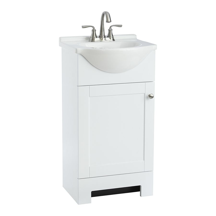 Style Selections Euro White Integral Single Sink Bathroom Vanity With Cultured Marble Top Common