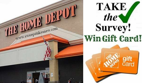 Home Depot Opinion Survey Sweepstakes in 2020 Win gift