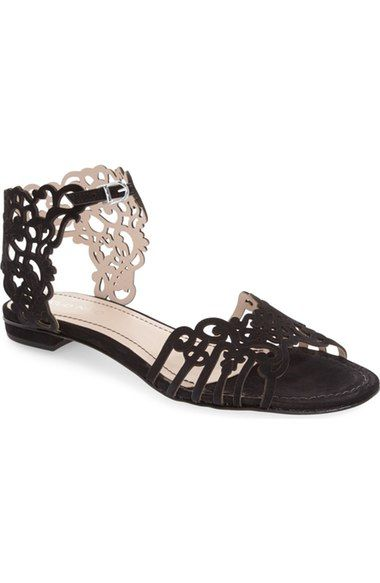 Klub Nico 'Juene' Laser Cut Flat Sandal (Women) available at #Nordstrom