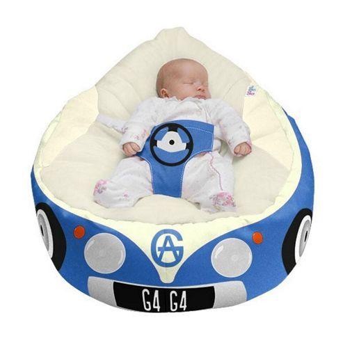 Gaga Luxury Cuddlesoft Baby Bean Bag - Iconic Campervan Blue Bean