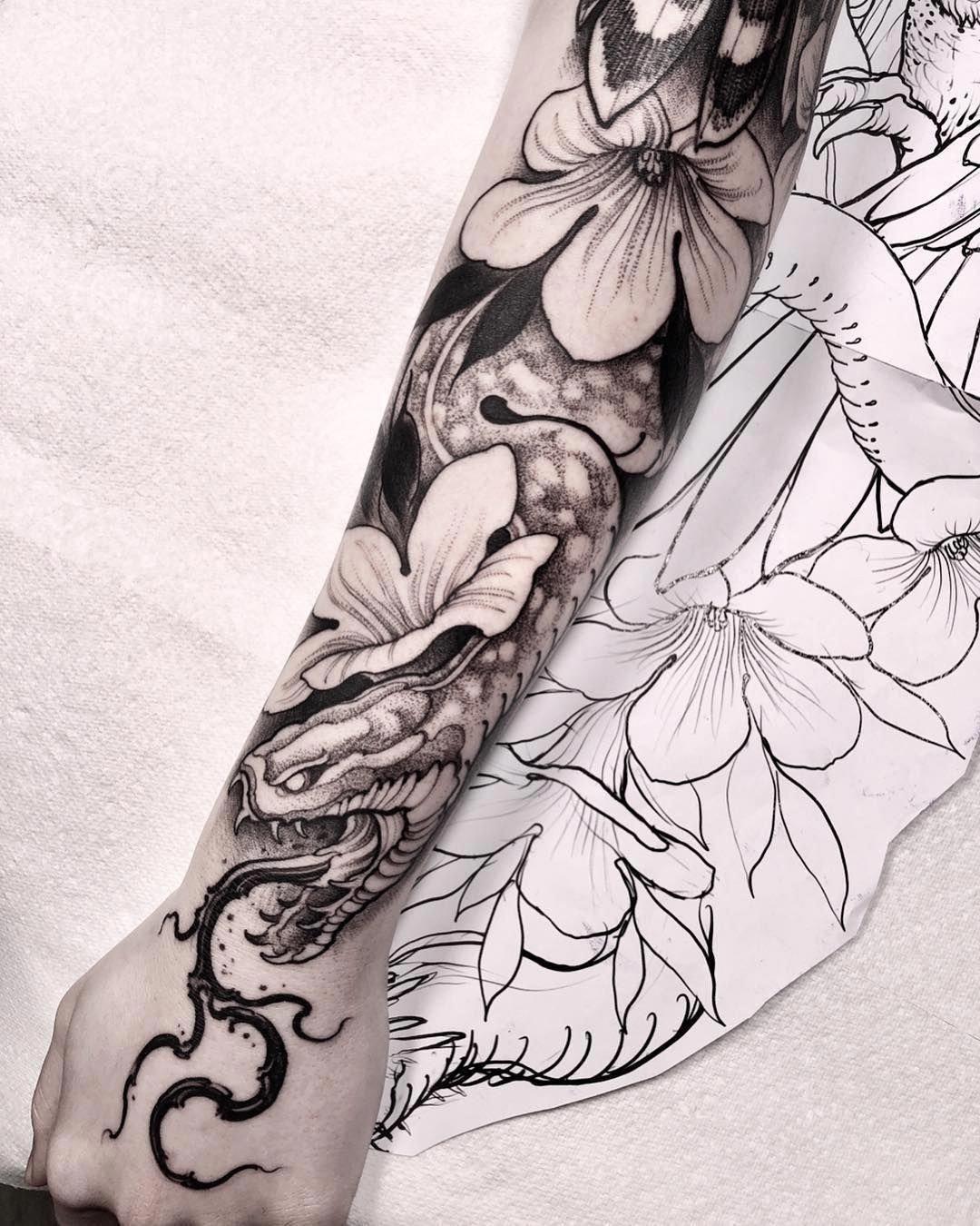 Tattoo Sleeve Generator: Snake And Flowers Tattoo Sleeve By @brunosantostattoo