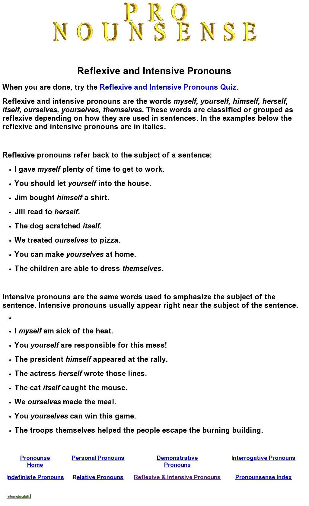 worksheet Relative Pronoun Worksheet reflexive and intensive pronouns quiz from nounsense pronoun nounsense