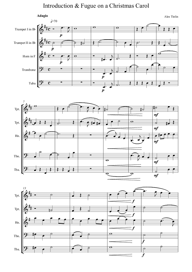 The brass version of this \'Introduction and Fugue on a Christmas ...