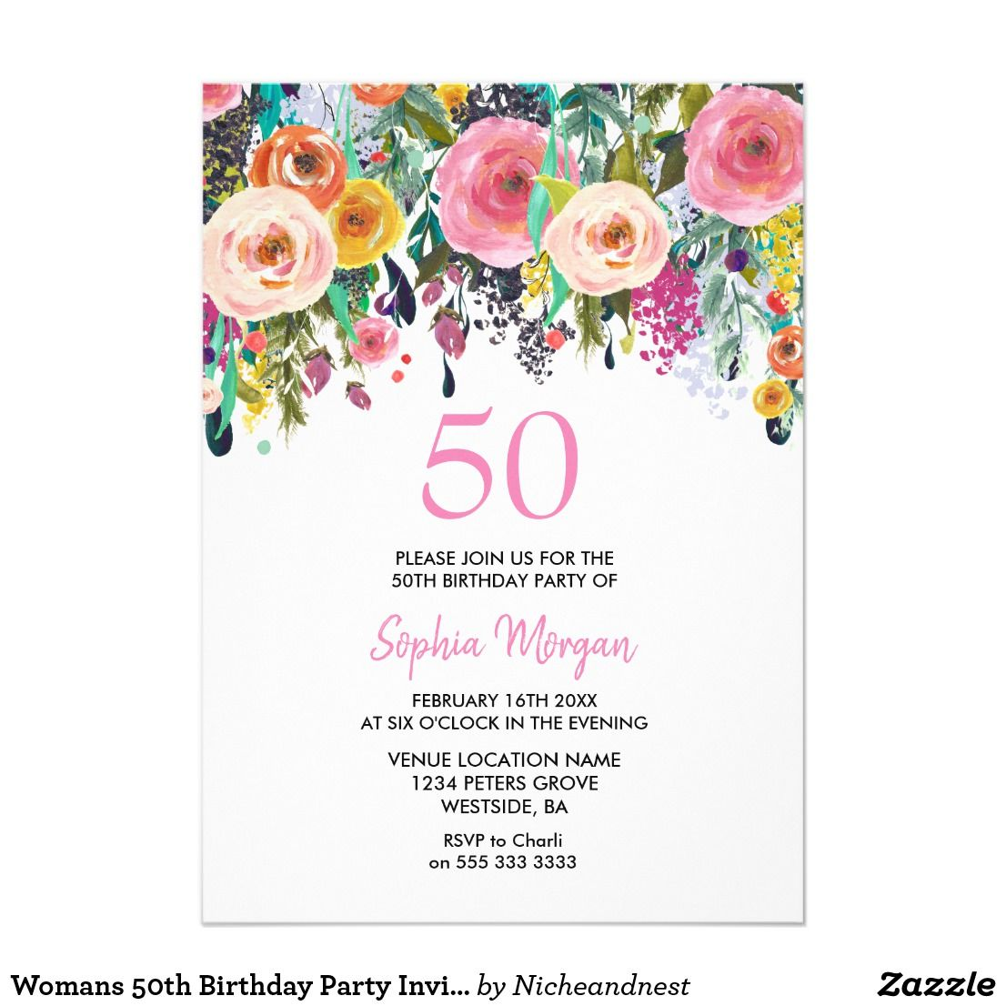 Womans 50th Birthday Party Invite Pink Flowers | 50 birthday parties ...