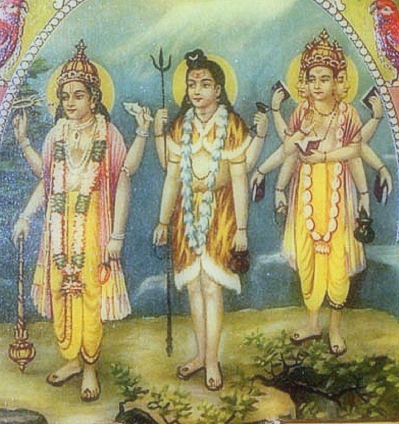 Shiva in the center a business card, c.1910\'s - Trimurti - https ...
