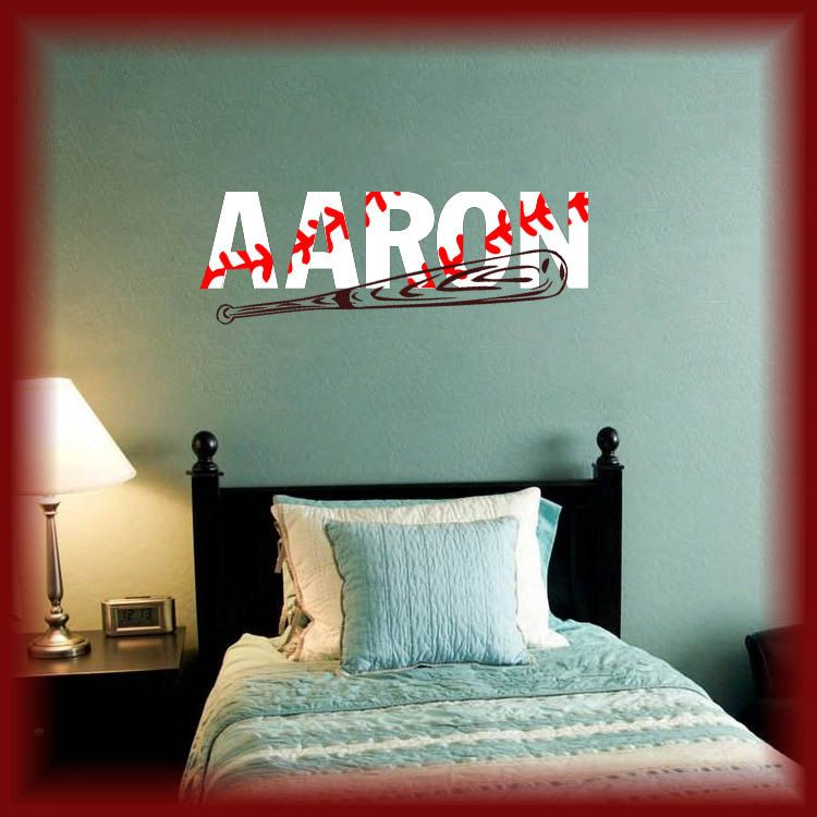 Wide Baseball Style Personalized Name W Bat Vinyl Wall Decal Boys Sports Room Decor
