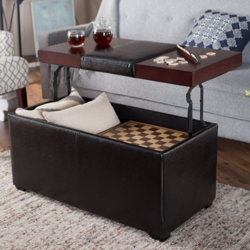 Leather Coffee Table Lift Top Ottoman Footstool Desk Storage Bench