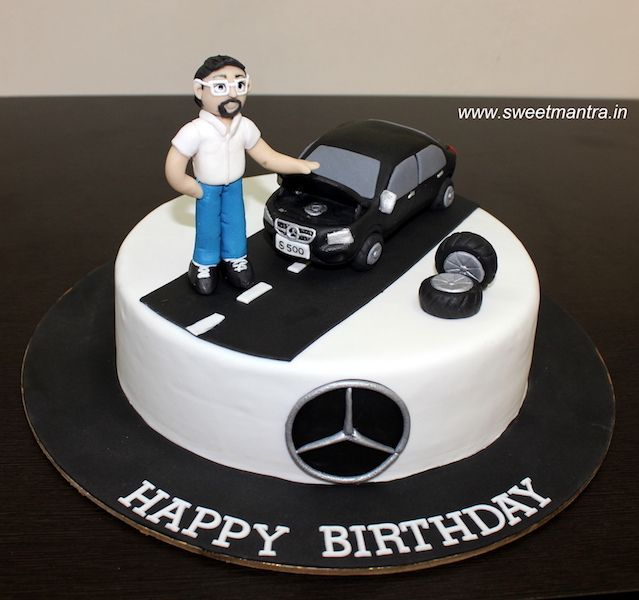 Mercedes S500 Series Car Theme Small Designer Fondant Cake With Merc Logo And Guy Figurine For Husba Cars Theme Cake Birthday Cake For Husband Cake For Husband