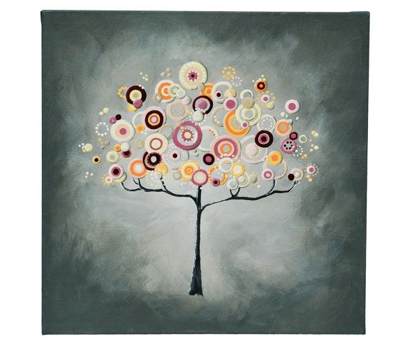 Whimsical Stylized Tree Painting 16x16 by LittleSparrowGallery