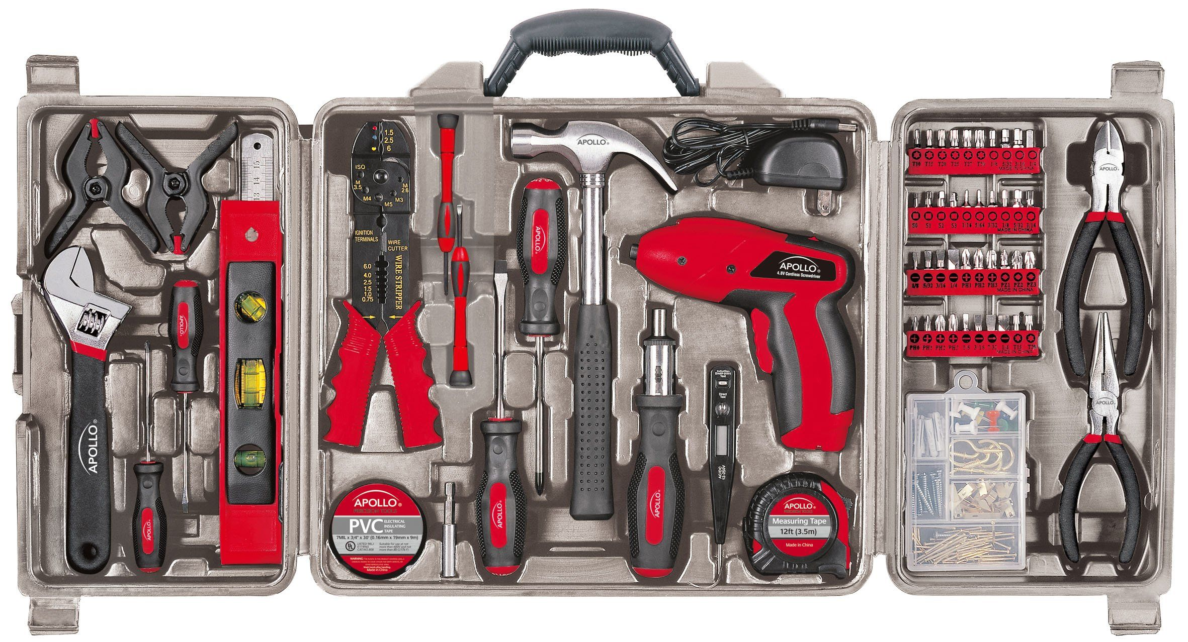 Apollo Tools Dt0738 161 Piece Complete Household Tool Kit With 4 8 Volt Cordless Screwdriver And Most Useful Hand Tools Household Tools Home Tool Kits Tool Kit