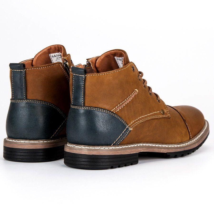 Trekkingowe Meskie Mckey Mckey Brazowe Skorzane Botki Meskie Boots Hiking Boots Shoes