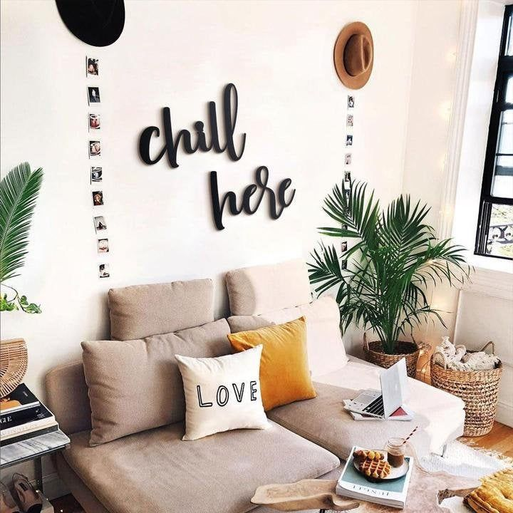 Chill Here, Home Decor, Metal Words, Metal Wall Decor, Metal Wall Sign, Metal Wall Hangings, Housewarming Gift, Words For Wall, Living Room -   19 fitness Room mall ideas