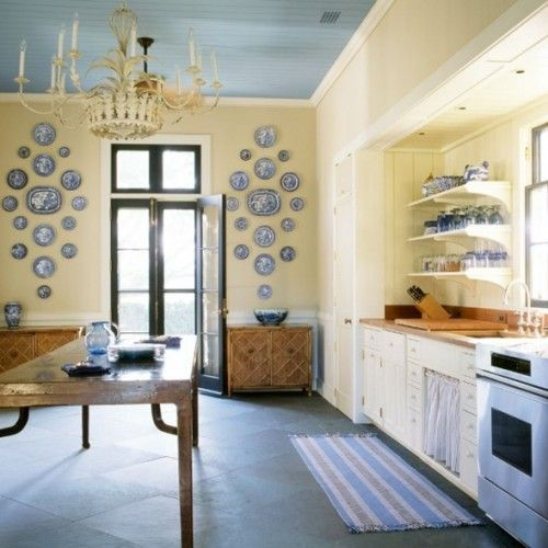 White Kitchen Yellow Walls yellow walls, blue ceiling. | color inspiration | pinterest | blue