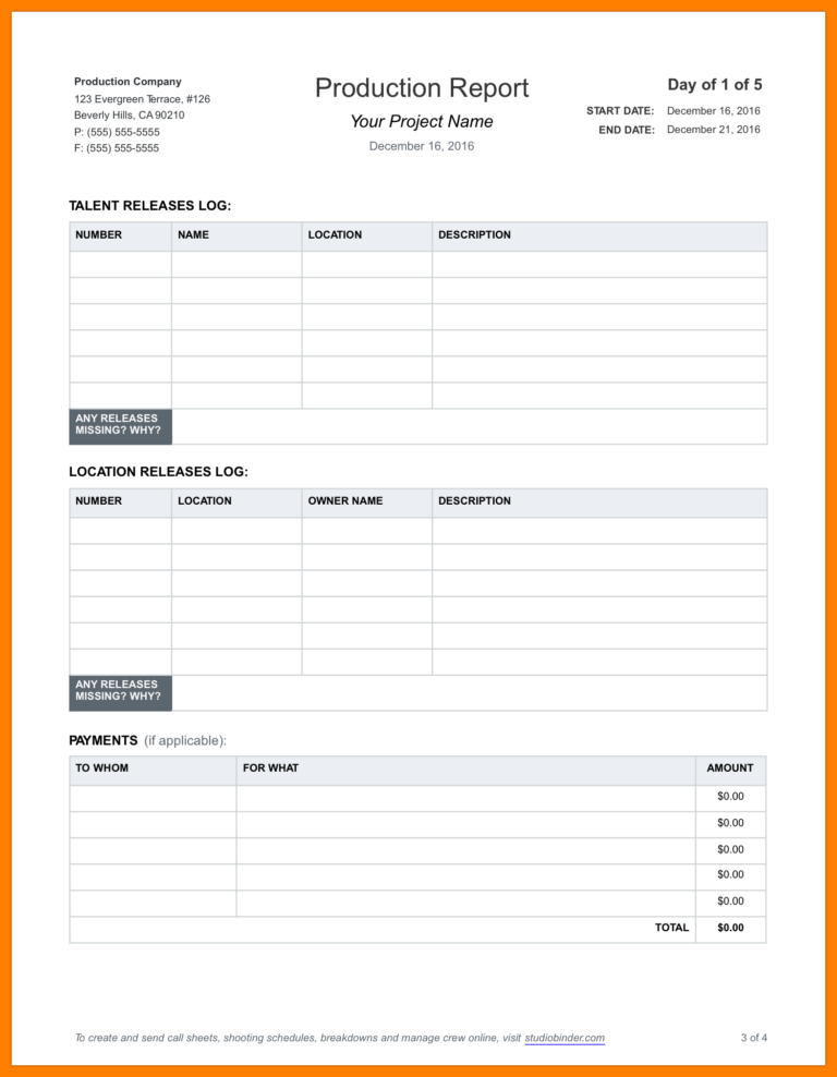 Monthly Production Report Example Format Daily Excel ...