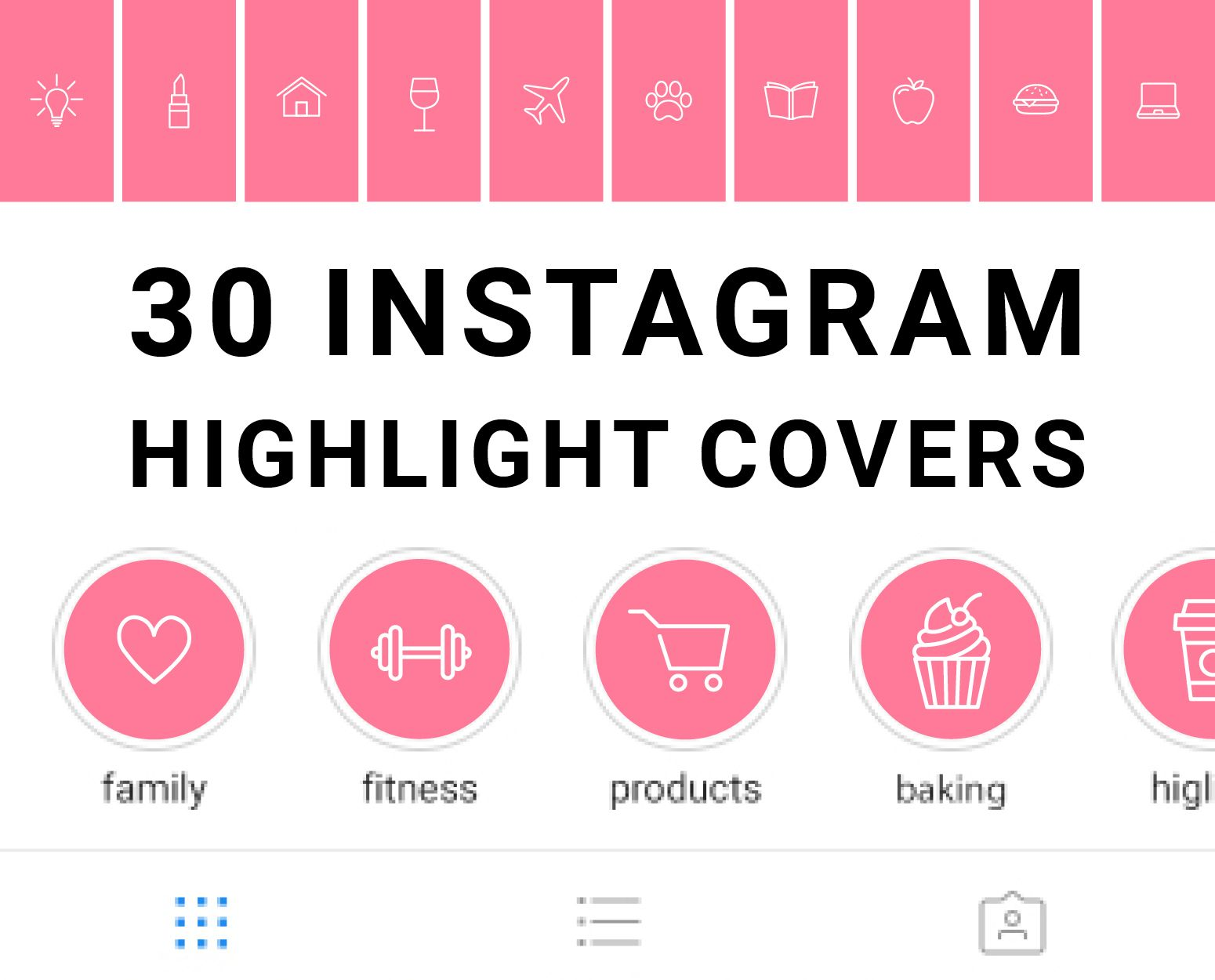 Set of 30 Downloadable Hot Pink Instagram Story Highlight