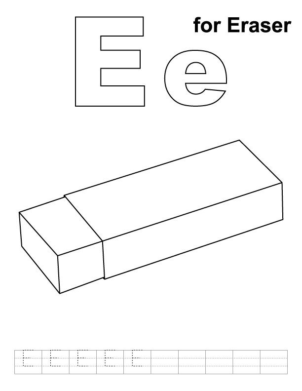 E For Eraser Coloring Page With Handwriting Practice Alphabet