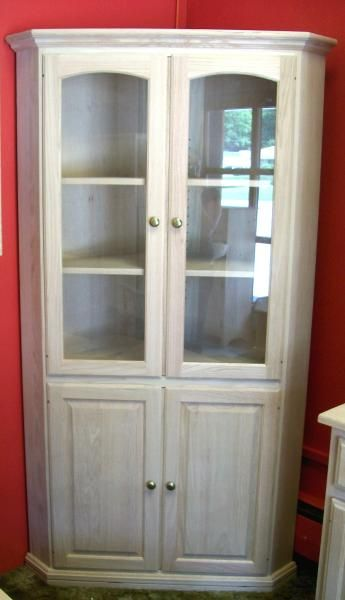 Superior Unfinished Corner China Cabinet. Highland Designs.com