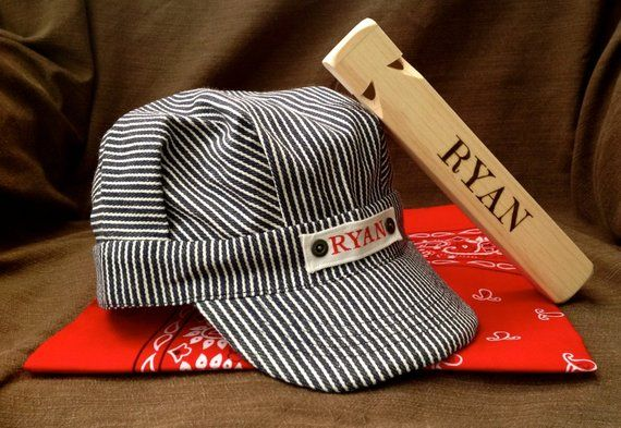 Personalized Train Engineer Hat Personalized Train Whistle and Red Bandana  Ring Bearer Gift Adjustab b075e9bb7fdb