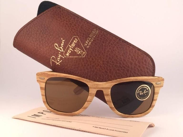 0f06d572cff62 Ray Ban The Wayfarer Woodies Driftwood Edition Collectors USA 80 s Sunglasse