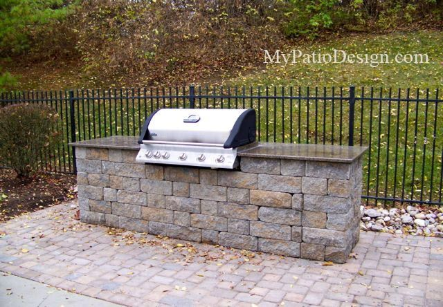 Good Drop In Grill Station Idea. Customized To Fit Grill Size. Built From Allan  Block Old Country Courtyard Block.