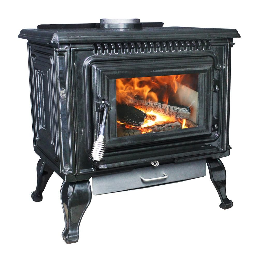 Ashley Hearth Products 2 000 Sq Ft Epa Certified Black Enameled Porcelain Cast Iron Wood Stove With Blower Awc31b The Home Depot Wood Stove Cast Iron Stove Freestanding Stove