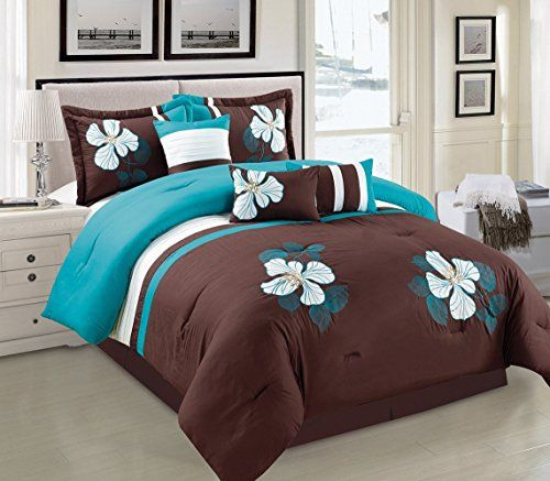 Turquoise Blue Brown And White Comforter Set Floral Bed In A Bag
