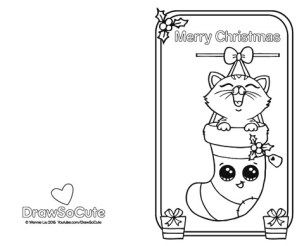 Coloring Page Of Christmas Card With Kitten In Stockings Cute Coloring Pages Coloring Pages Christmas Coloring Pages