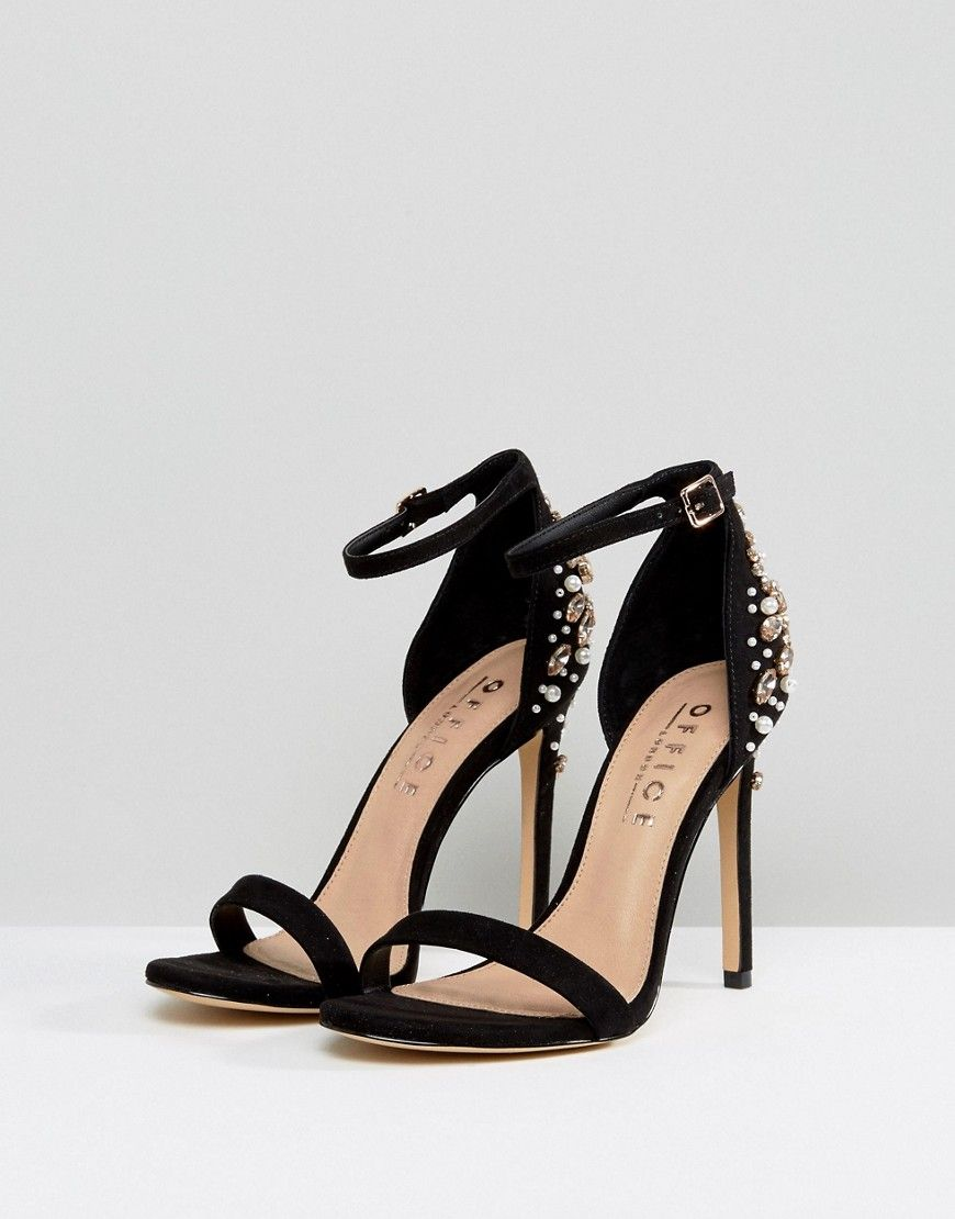 Hottie Embellished Heeled Sandals - Black Office rDFSW1
