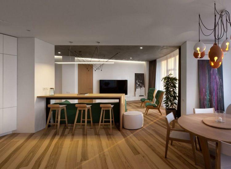 farbe-gruen-fruehstueckstheke-barstuehle-essbereich-lampen-idee