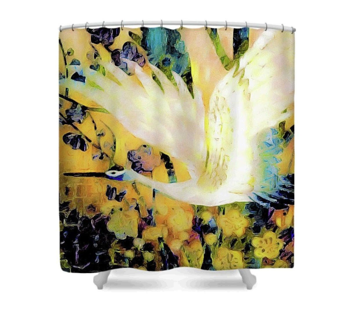 Japanese Crane Fabric Shower Curtain; Yellow, Blue & White Vintage ...